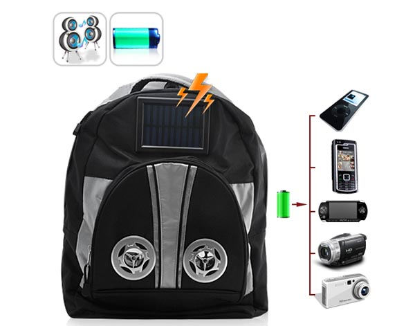 Solar Battery Charger Backpack Integrated Speaker