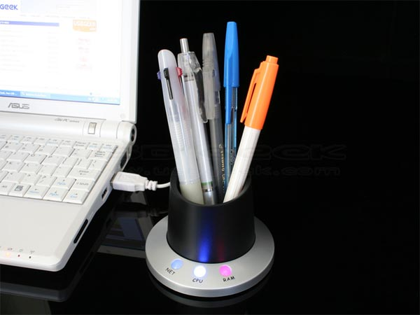 USB Pen Holder Doubled as System Monitor