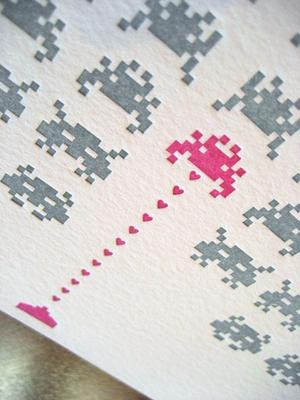 Space Invaders Greeting Card for Your Geek Girlfriend