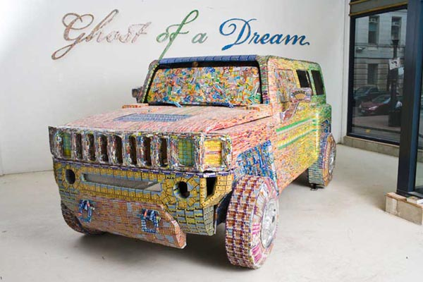 Dream Car Covered with Lottery Tickers