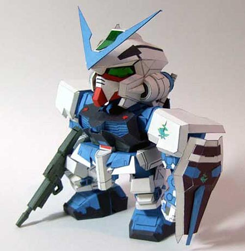 Make Gundam Paper Crafts by Yourself - SD Gundam Astray MBF-P03 Blue Frame
