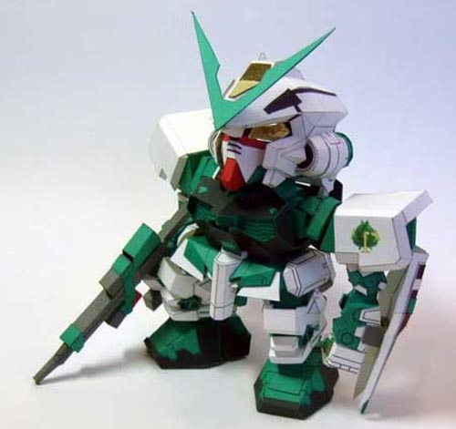 Make Gundam Paper Crafts by Yourself - SD Gundam Astray MBF-P03 Green Frame