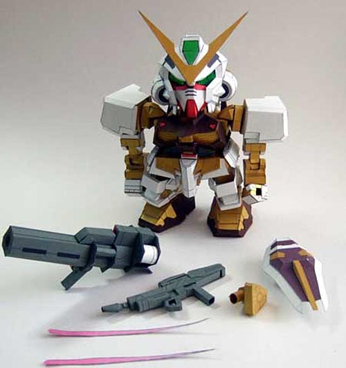 Make Gundam Paper Crafts by Yourself - SD Gundam Astray MBF-P01 Gold Frame
