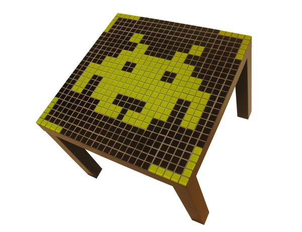 Space Invaders Themed Mosaic Coffee Table