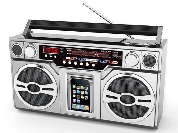 Retro Boombox Styled iPod Dock with Portable Speakers