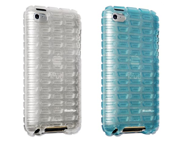 Gumdrop's Moto Rubber iPod touch 4G case comes in black, blue, and gray.