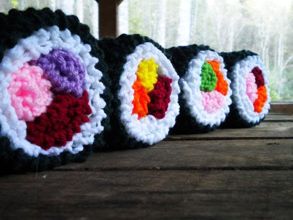 Hand-Knit Sushi Pillow for Sushi Lovers