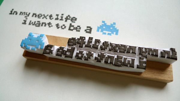 I Want to Be Space Invaders Rubber Stamp