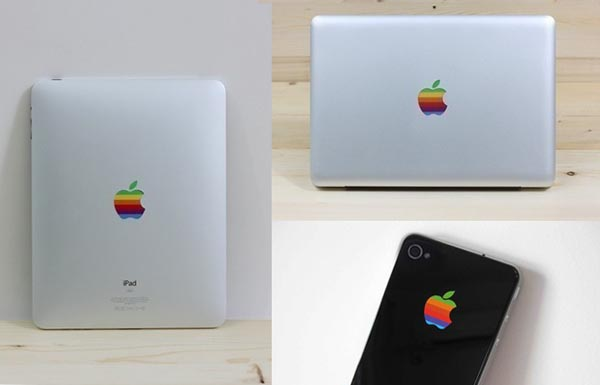 Retro Rainbow Apple Logo Decals for iPad, iPhone 4 and MacBook