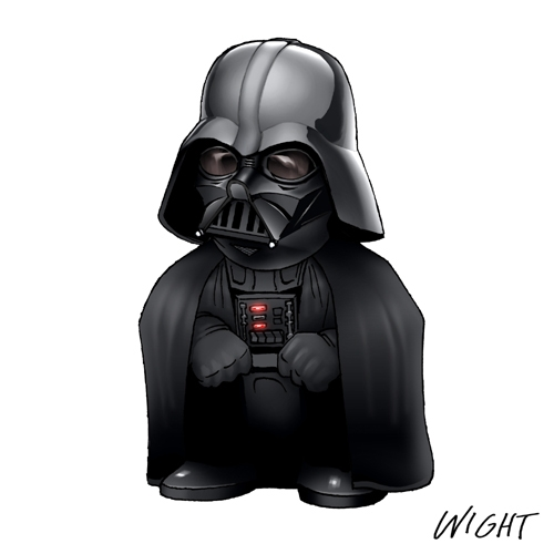 Chibi Star Wars Characters Representing Alphabet -Darth Vader