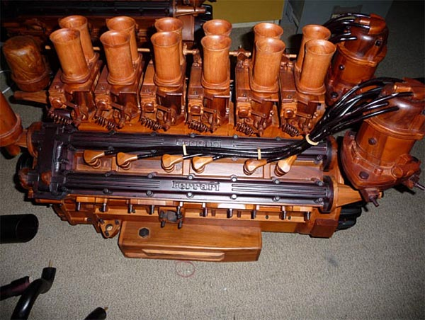 Available Life-Size Ferrari V12 Wooden Engine Replica