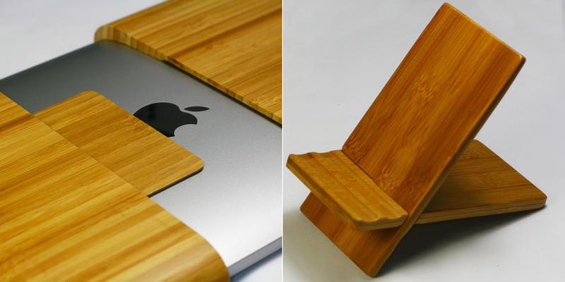 Handmade Natural Bamboo Wooden iPad Case and Stand