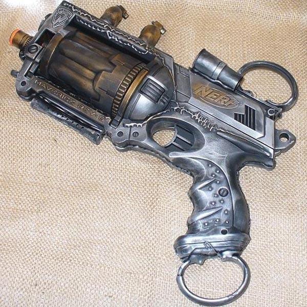 Handmade Steampunk Nerf N Strike Maverick Blaster Gadgetsin