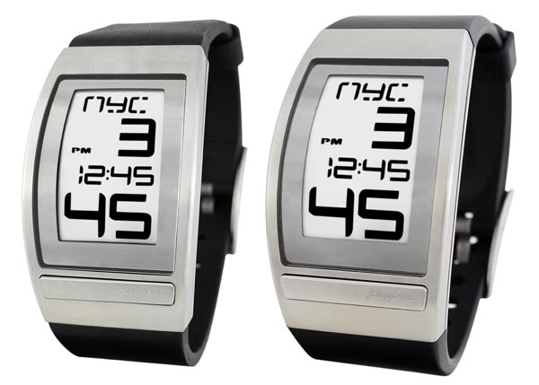 Phosphor World Time Curved E-Ink Watch