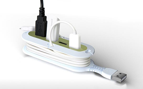 Quirky Contort 4-Port USB Hub integrated Cable Organizer