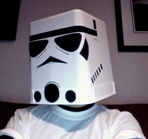 Star Wars Stormtrooper Helmet Built with Trashcan