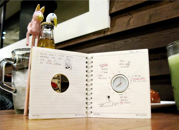 Watch Dairy Notebook Integrated Small Clock