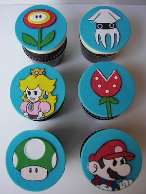 Custom Super Mario Cupcake Toppers and Cookies