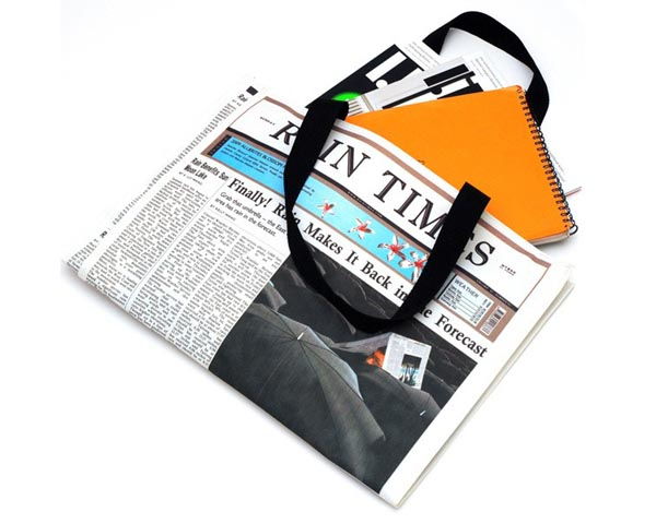 Rain Times Newspaper Styled Waterproof Canvas Bag