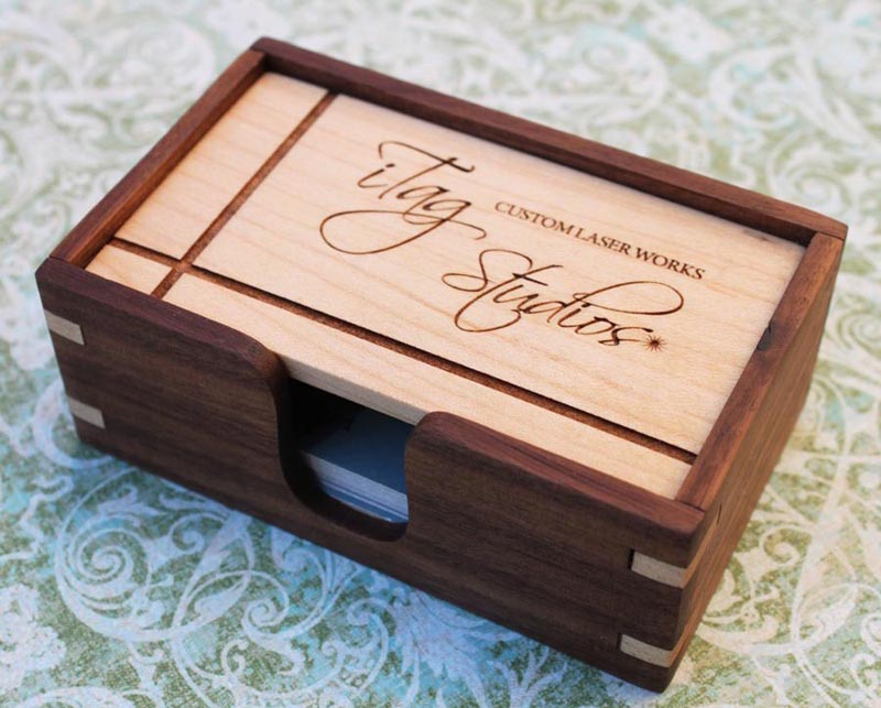 Wooden Business Card Holder Gadgetsin