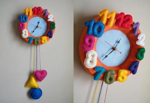 Colorful Felt Wall Clock