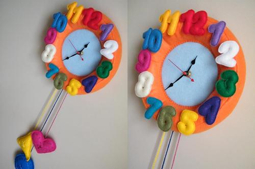 Colorful Felt Wall Clock