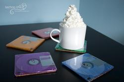 Colored Floppy Disk Coaster Set