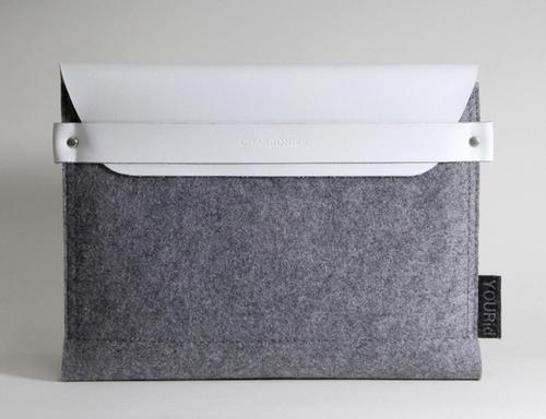 Elegant Wool Felt iPad Sleeve with Leather Flap