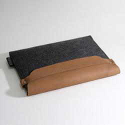 Elegant Wool Felt iPad Sleeve with Leather Flap