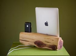 Handmade Wooden iPad iPhone Dual Docking Station