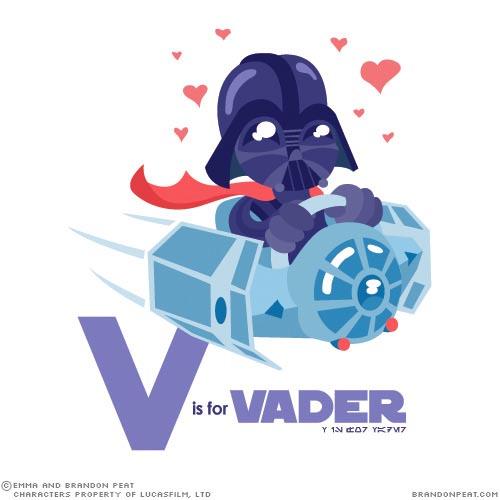Cartoony Star Wars Characters Alphabet - Darth Vader