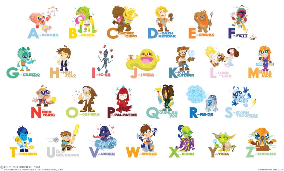 A Z Cartoon Characters : Cartoony star wars characters alphabet gadgetsin