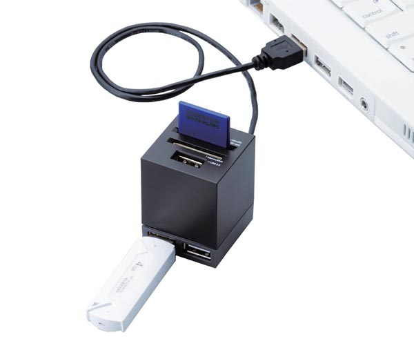 Elecom Mini USB Hub Integrated Card Reader
