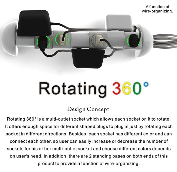 LEGO Style Rotating 360° Power Outlet