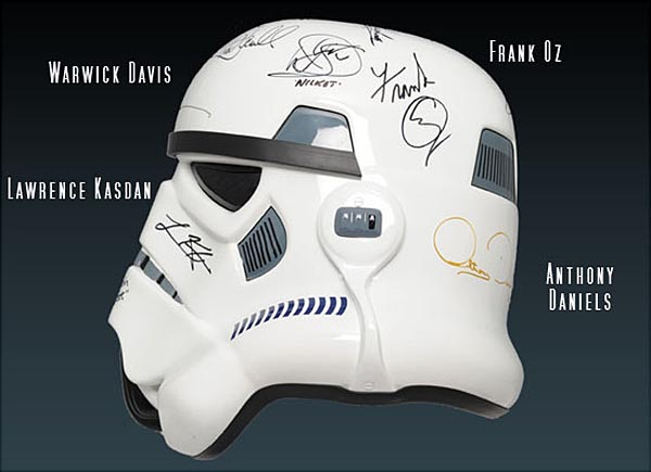 Star Wars Stormtrooper Helmet with Signatures of George Lucas and More