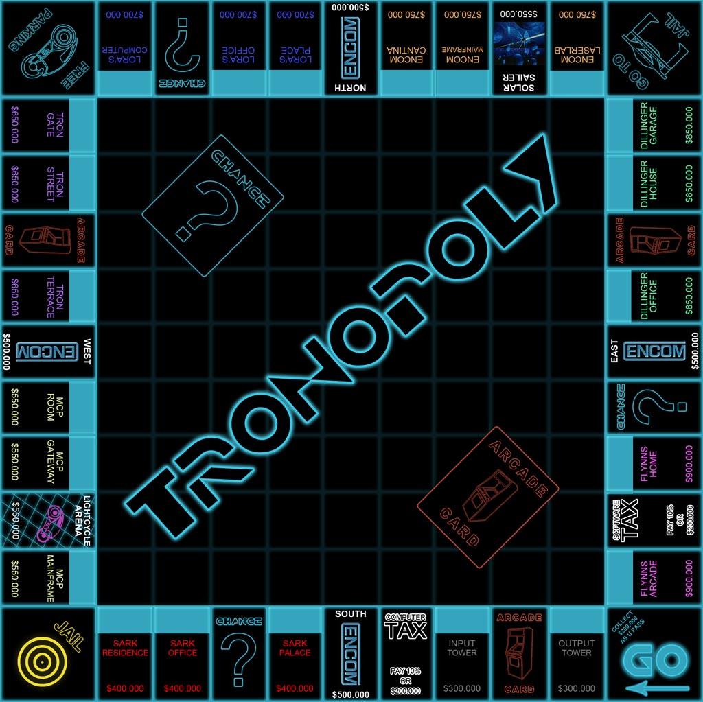 Tron Legacy Monopoly Board Game Gadgetsin
