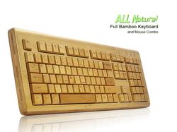 All Natural Full Bamboo Wooden Computer Keyboard and Mouse