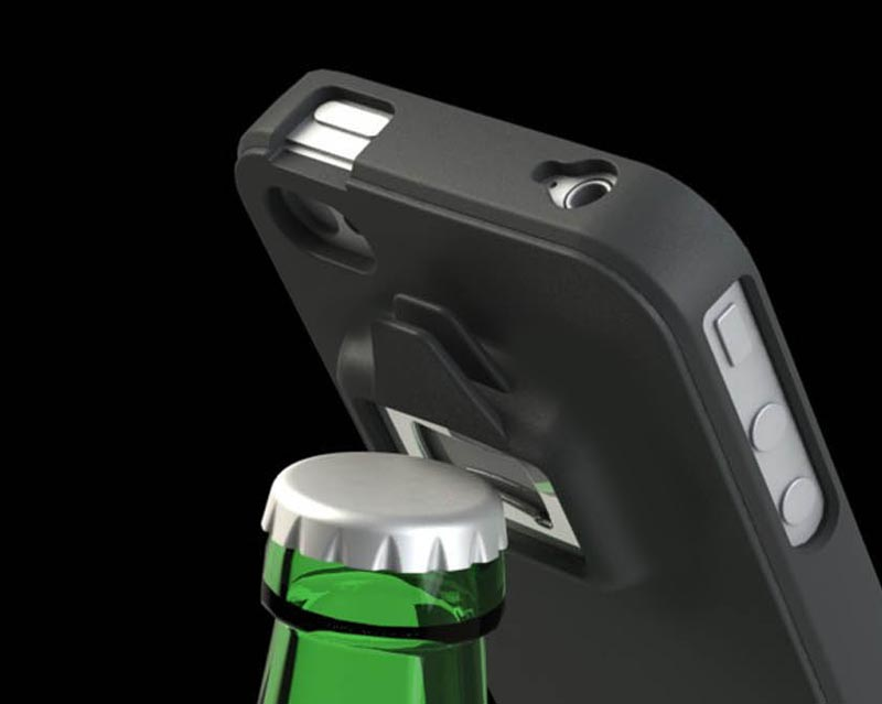 be a headcase iphone 4 case integrated can and bottle opener gadgetsin. Black Bedroom Furniture Sets. Home Design Ideas