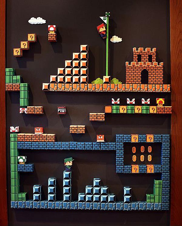 Fantastic 8-Bit Super Mario Paper Craft Magnetic Board