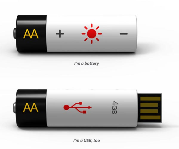 USB Powered AA Battery Doubled as USB Flash Drive
