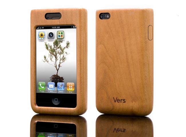 vers iphone 4 wooden case gadgetsin. Black Bedroom Furniture Sets. Home Design Ideas