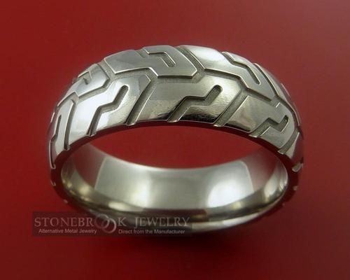 Tire Tread Styled Titanium Ring