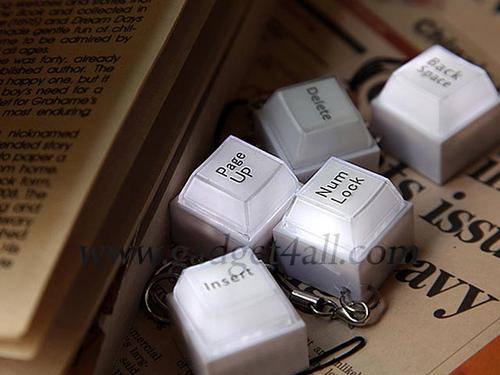 Mini Computer Keyboard Button Keychain with LED Light