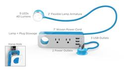 Quirky Ember Portable Study Lamp with USB Ports and Power Outlets