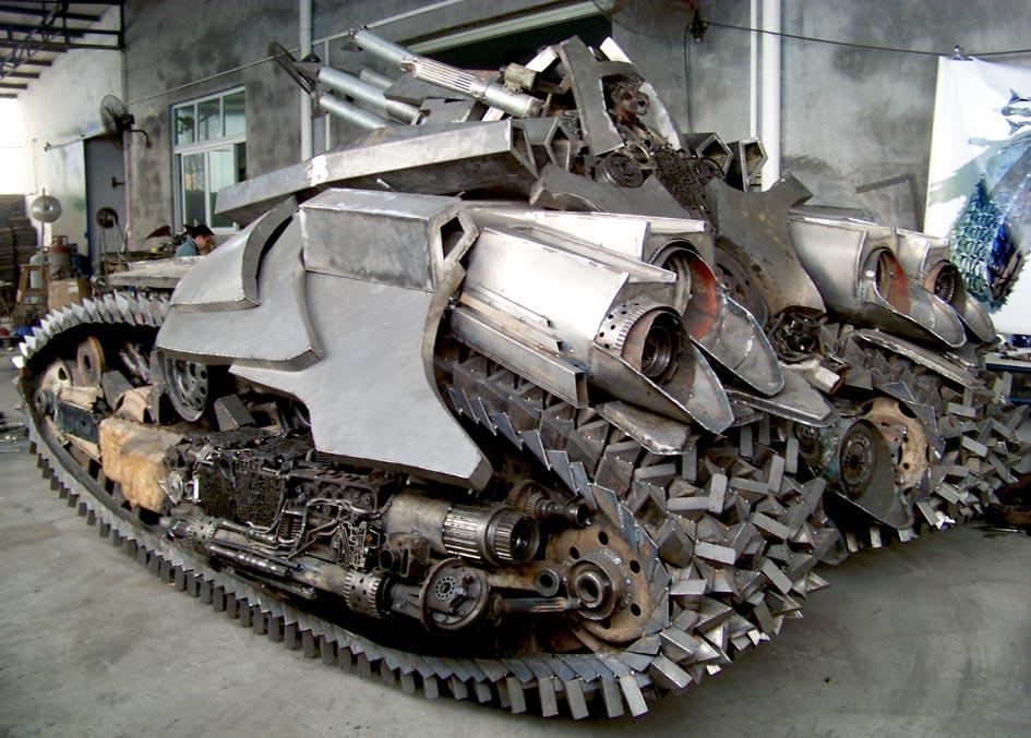 Awesome Transformers Megatron Tank Steel Sculpture | Gadgetsin