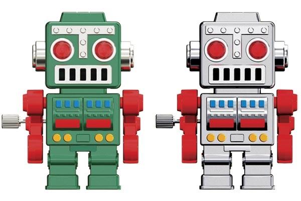 Retro Walking Wind Up Robot Keychain