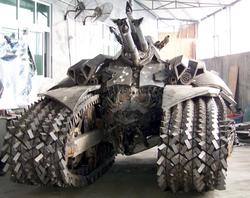 Awesome Transformer Megatron Tank Steel Sculpture