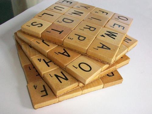 Handmade Scrabble Coaster Set
