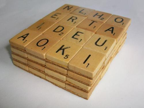 Handmade Scrabble Coaster Set
