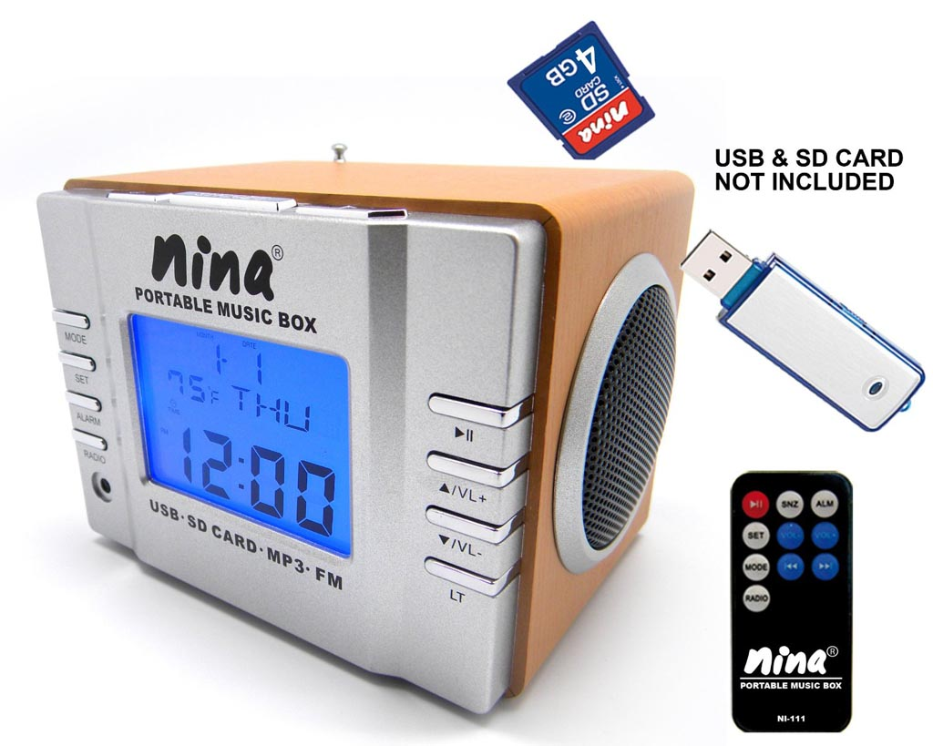 nina portable mp3 player with speaker fm radio and alarm clock gadgetsin. Black Bedroom Furniture Sets. Home Design Ideas